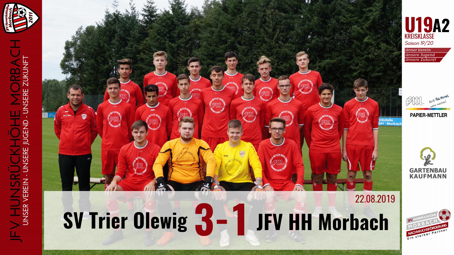 You are currently viewing U19 A2: SV Trier-Olewig – JFV Hunsrückhöhe Morbach 3-1 (1-0)
