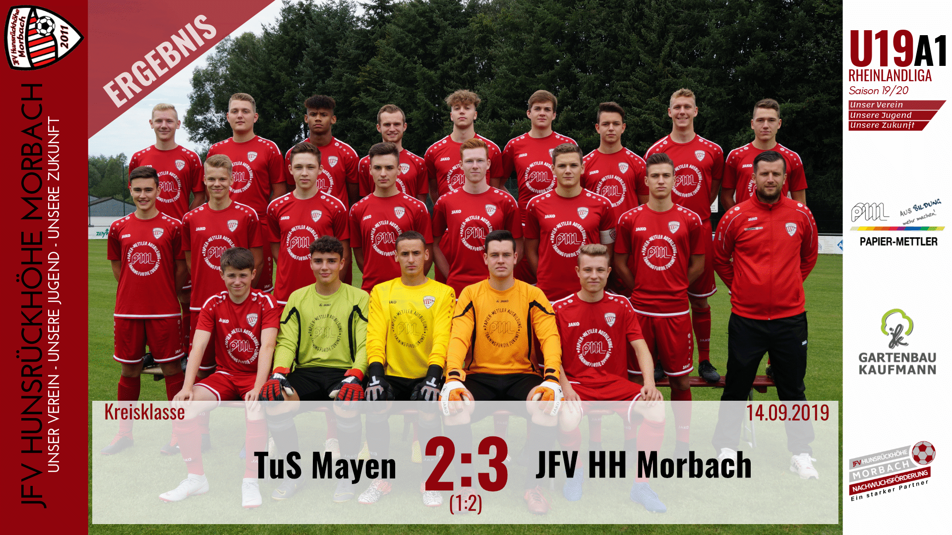 U19 A1: TuS Mayen – JFV Hunsrückhöhe Morbach 2:3 (1:2)
