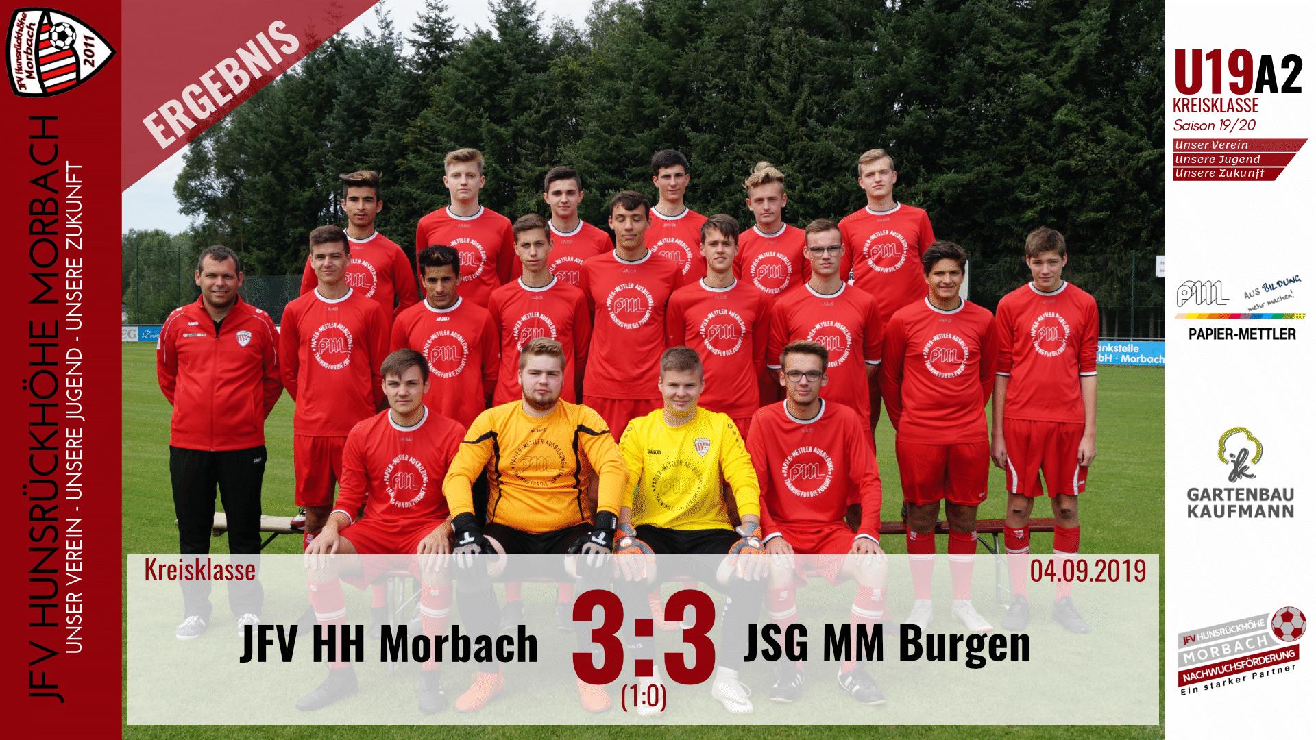 U19 A2: JFV Hunsrückhöhe Morbach – JSG Mittelmosel Burgen 3-3 (1-0)
