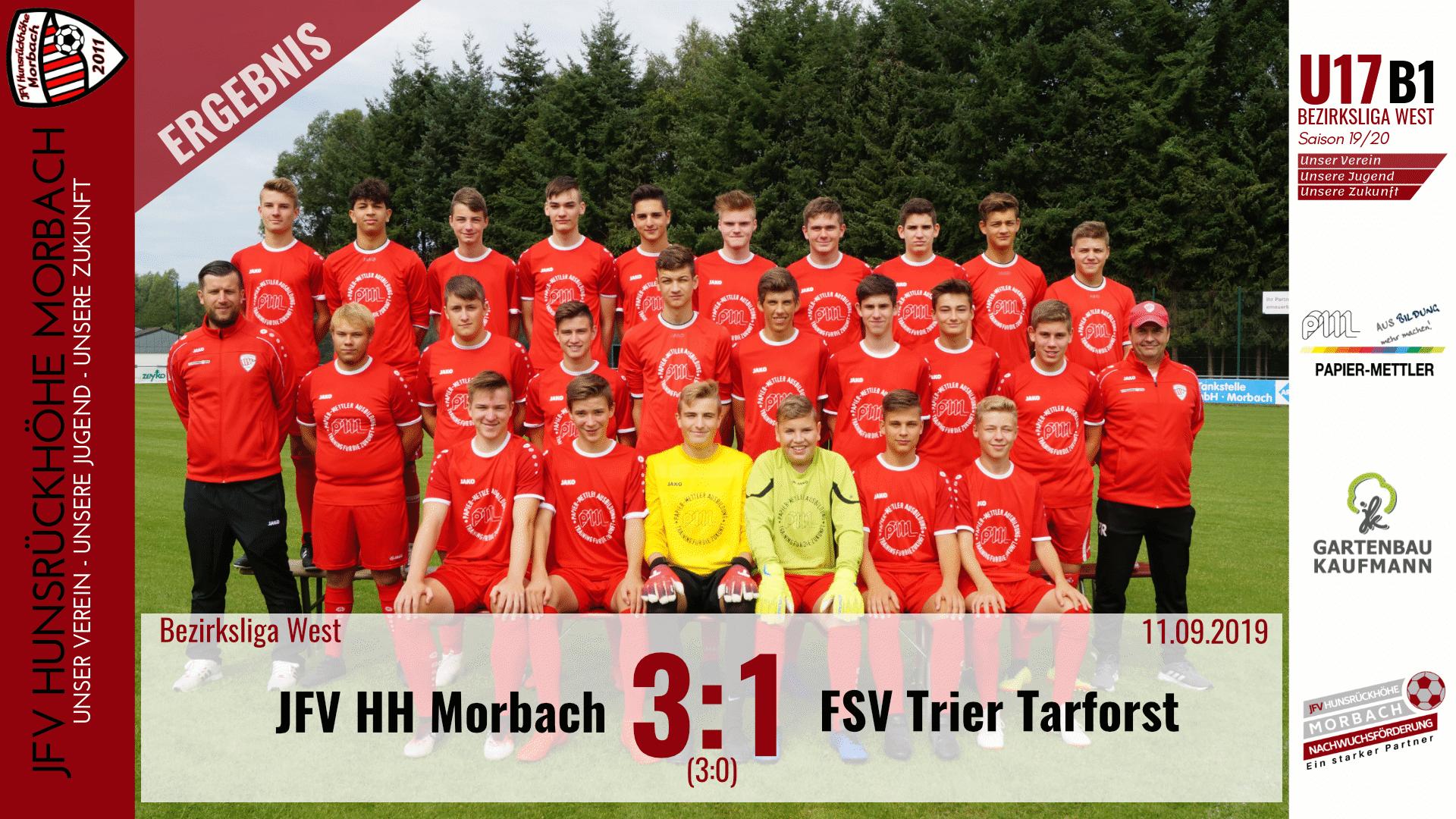 U17 B1: JFV Hunsrückhöhe Morbach – FSV Trier Tarforst 3:1 (3:0)