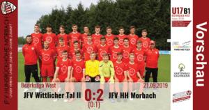U17 B1: JFV Wittlicher Tal – JFV Hunsrückhöhe Morbach 0:2 (0:1)