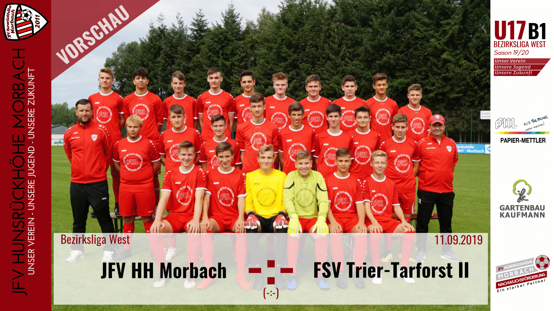 U17 B1: Vorbericht ~ JFV Hunsrückhöhe Morbach – FSV Trier Tarforst ~ Mi., 11.09.19 19:30 Uhr