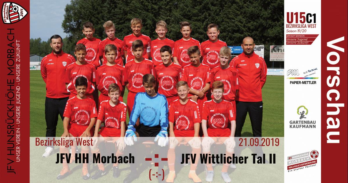 U15 C1: Vorbericht ~ JFV Hunsrückhöhe Morbach – JFV Wittlicher Tal ~ Sa., 21.09.19 15:15 Uhr