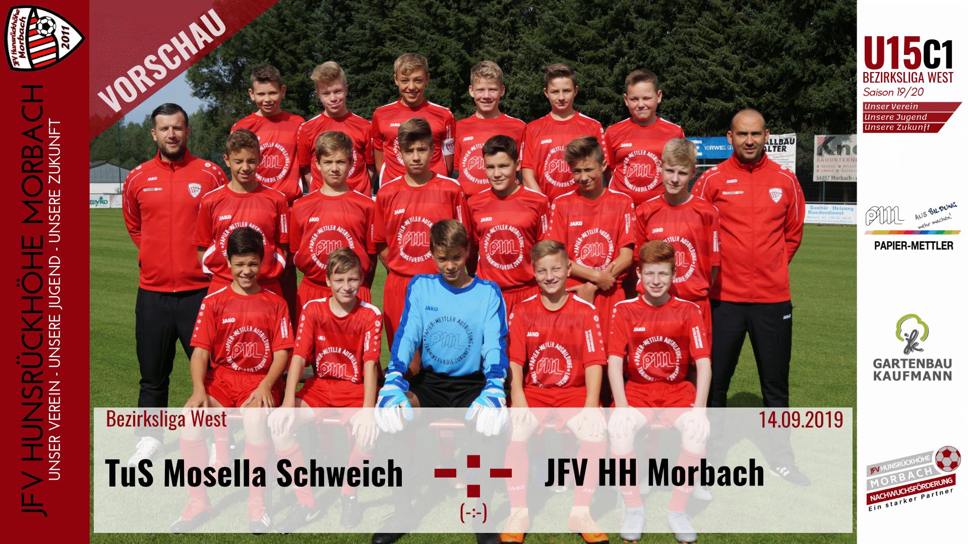 U15 C1: Vorbericht ~ TuS Mosella Schweich – JFV Hunsrückhöhe Morbach  ~ Sa., 14.09.19 15:15 Uhr