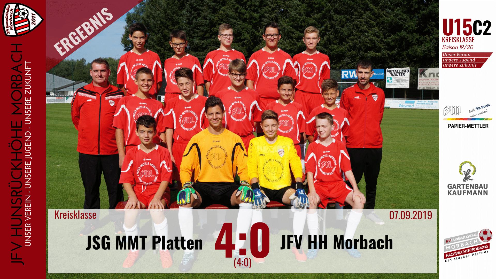 U15 C2: JSG Mittelmoseltal Platten – JFV Hunsrückhöhe Morbach 4:0 (4:0)