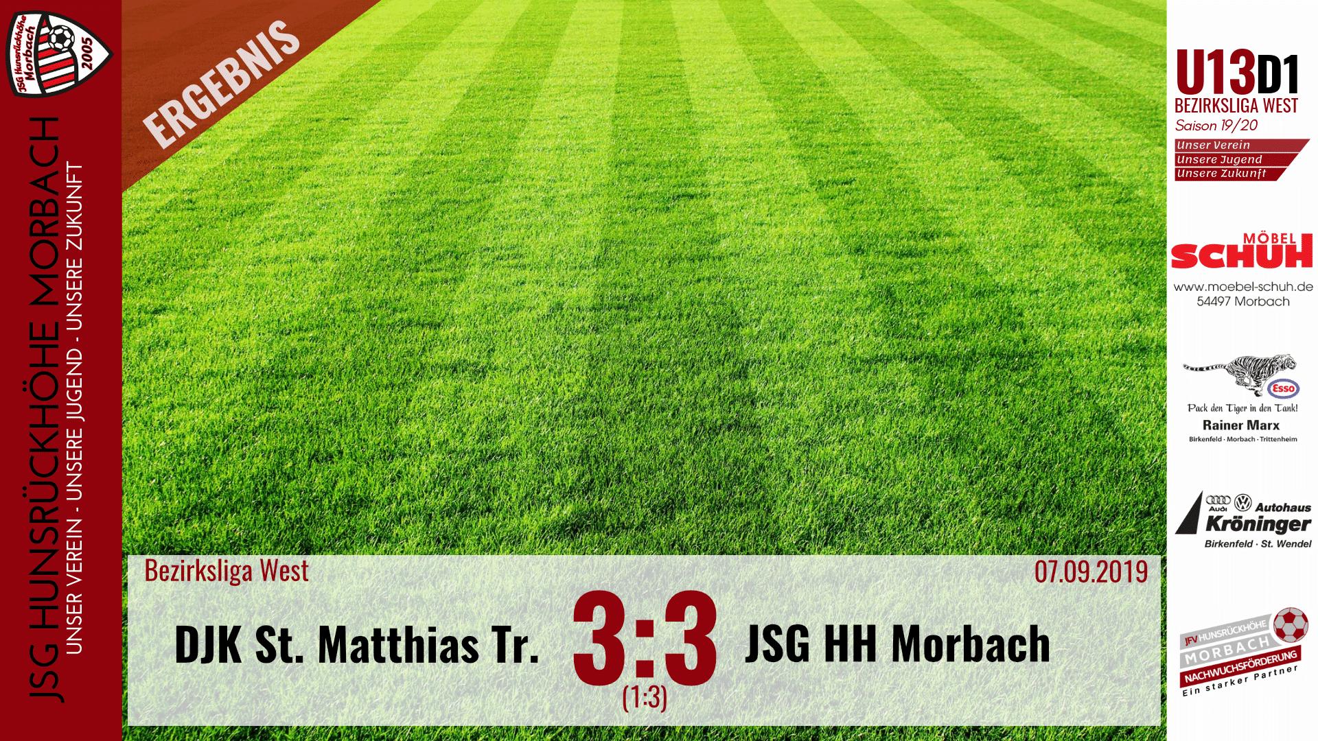 U13 D1: DJK St. Matthias Trier – JSG Hunsrückhöhe Morbach 3:3 (1:3)