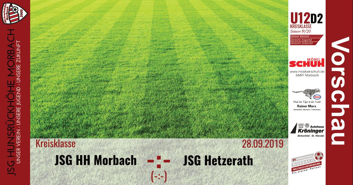 U12 D2: Vorbericht ~ JSG Hunsrückhöhe Morbach – JSG Hetzerath ~ Sa., 28.09.2019 15:00 Uhr