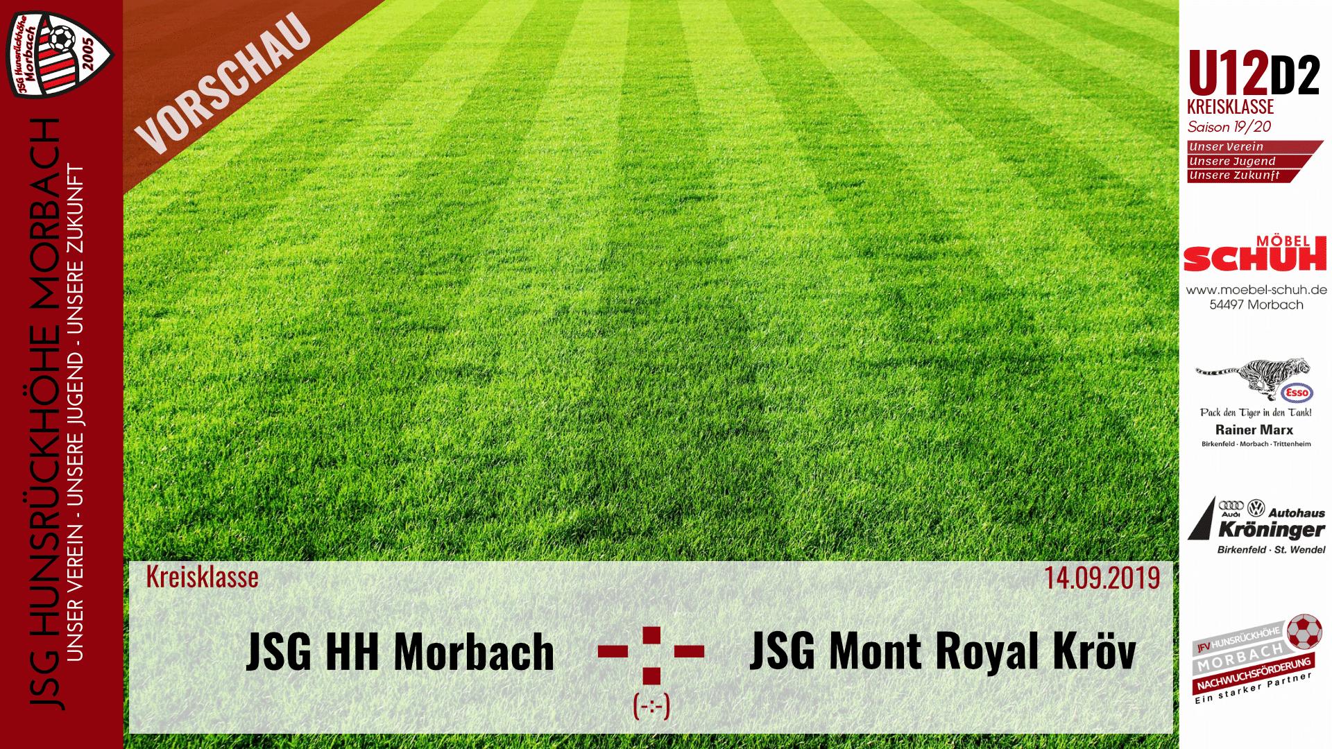 U12 D2: Vorbericht ~ JSG Hunsrückhöhe Morbach – JSG Mont-Royal Kröv II ~ Sa., 14.09.2019 12:00 Uhr