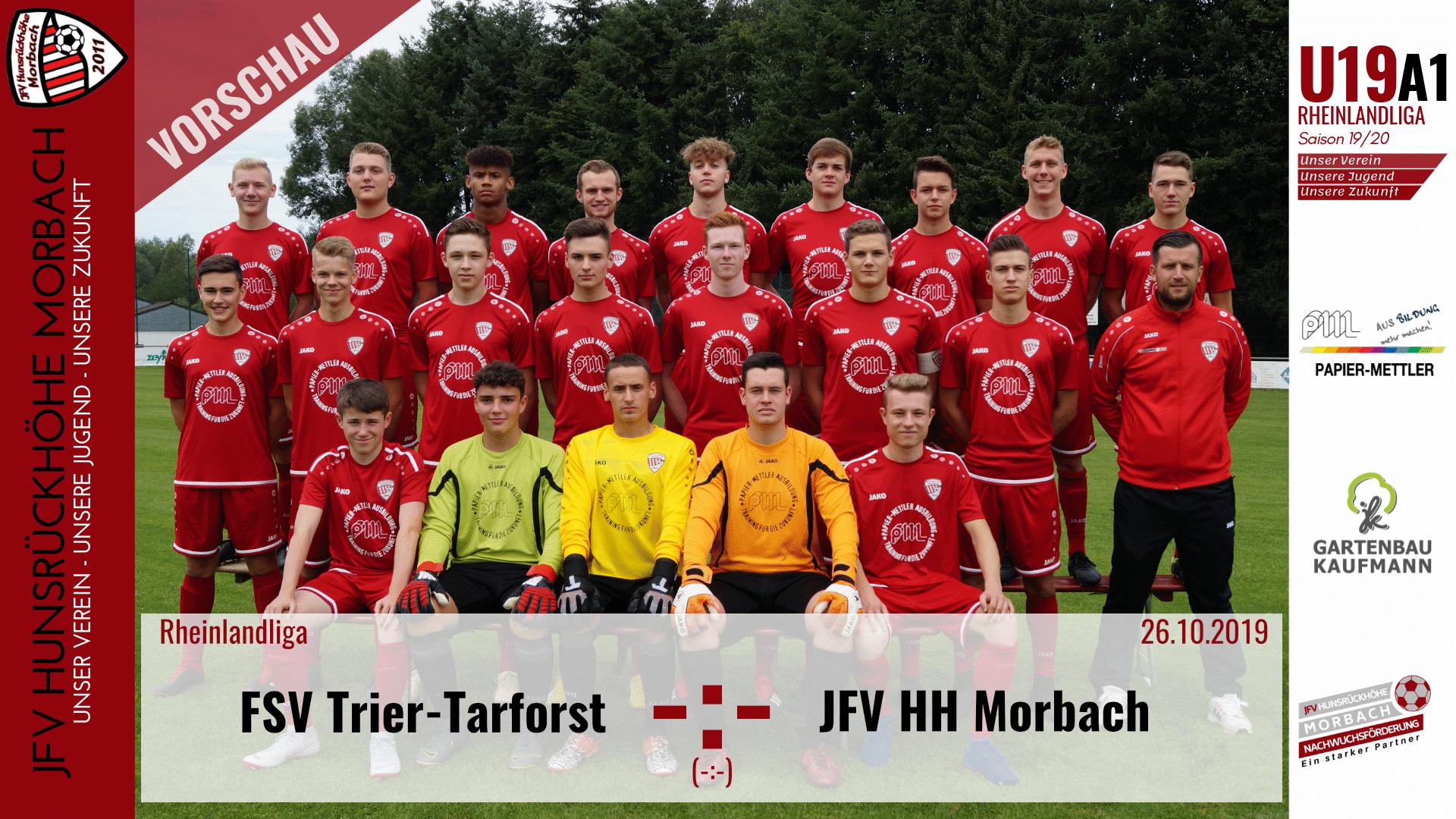 You are currently viewing U19 A1: Vorbericht ~ FSV Trier-Tarforst –  JFV Hunsrückhöhe Morbach ~ Sa., 26.10.19 17:00 Uhr