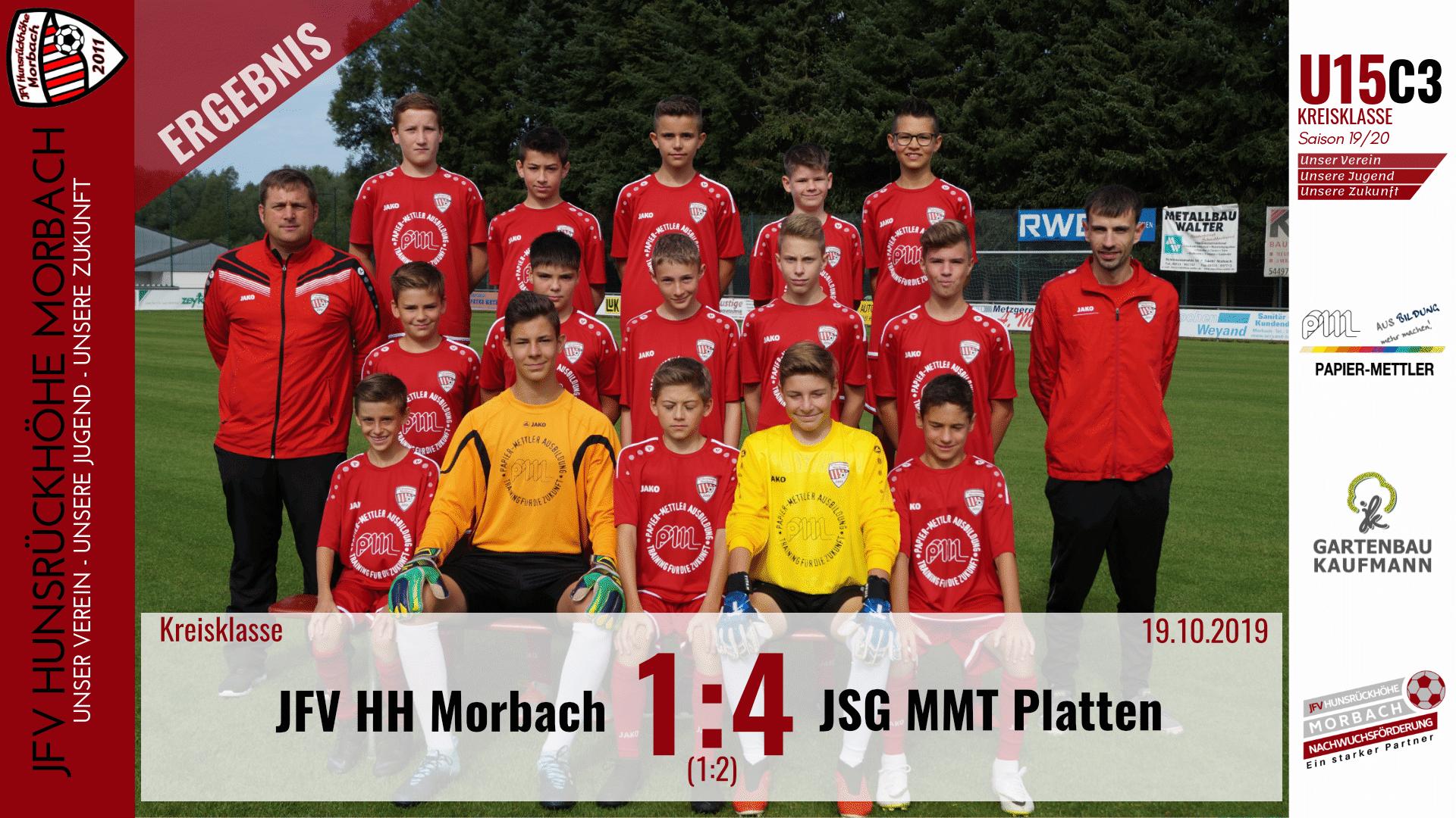 U15 C3: JFV Hunsrückhöhe Morbach – JSG Mittelmoseltal Platten 1:4 (1:2)